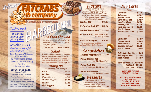 Fat Crabs OBX Bbq Menu