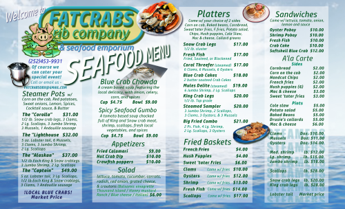 Fat Crabs OBX Seafood Menu