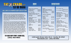 Fat Crabs OBX To Go Menu